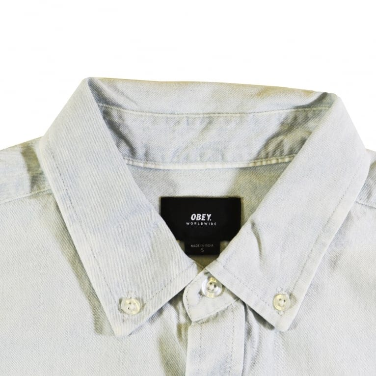 Obey Keble Long Sleeve Shirt - White
