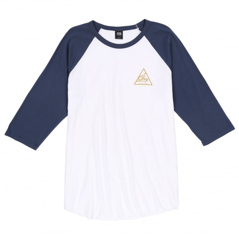 Obey Next Round Raglan - White/Navy