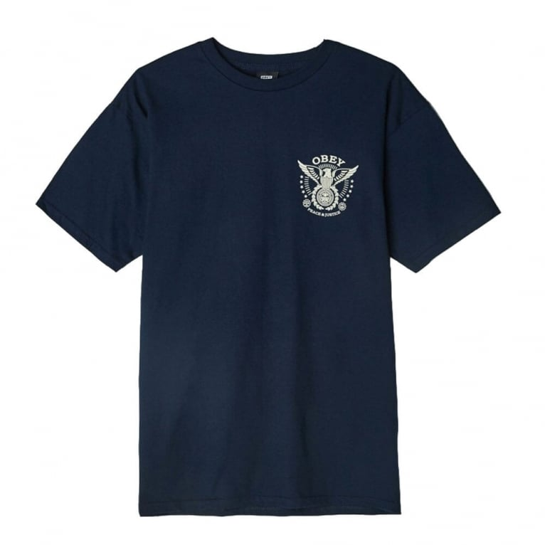 Obey Peace & Justice Eagle Tee - Navy Blue
