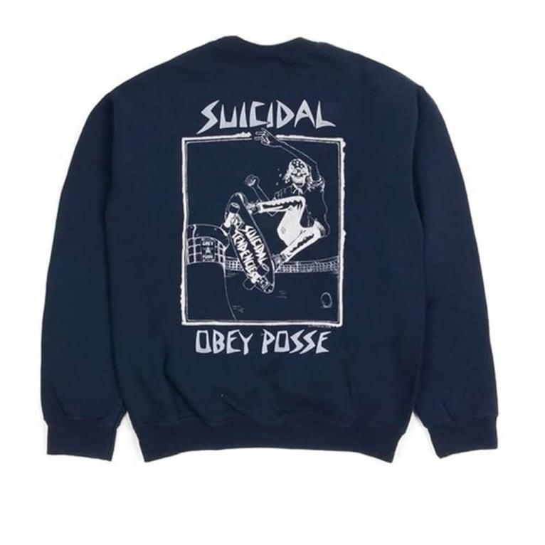 Obey Suicidal Tendencies Pool Skater Crew Navy