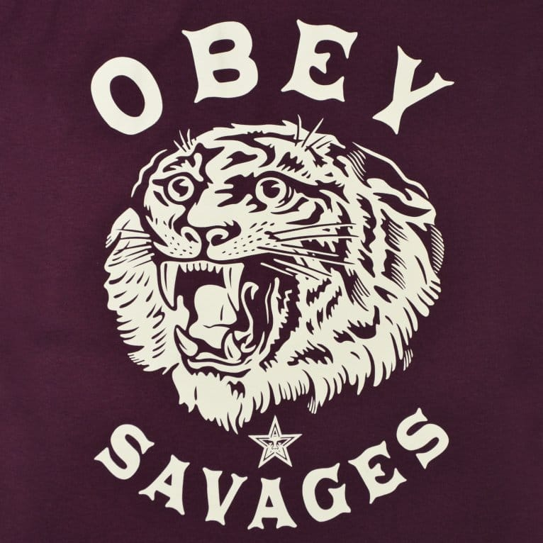 Obey Tiger Savages Tee - Burgundy