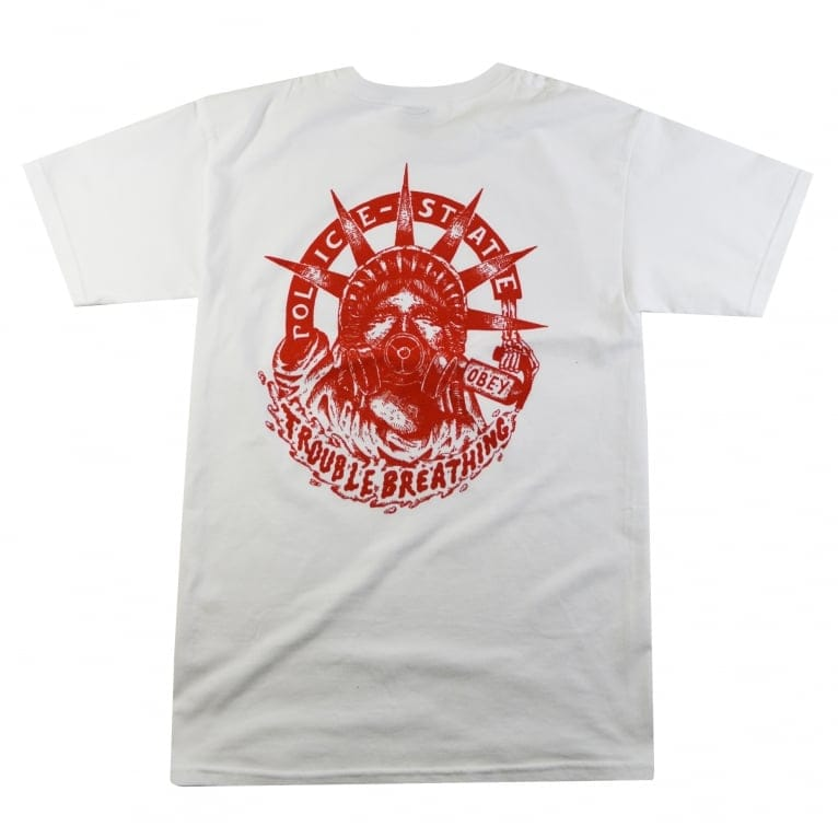 Obey Trouble Breathing Basic T-Shirt - White