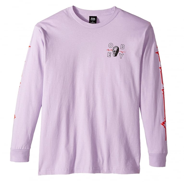Obey Wave Lengths Long Sleeve T-Shirt - Lavender