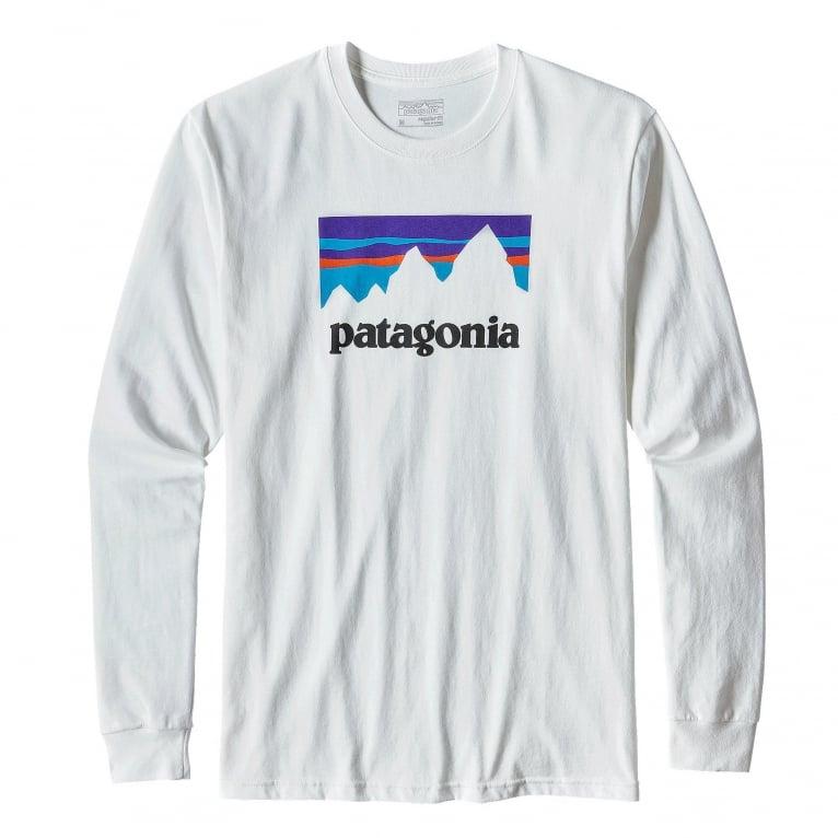Patagonia Shop Sticker Long Sleeve T- Shirt - White