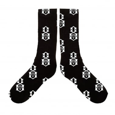 8 Pattern Logo Socks - Black