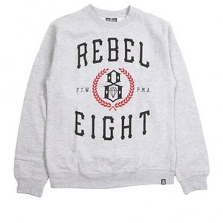 Rebel 8 Laurels Crewneck Sweatshirt - Grey Heather