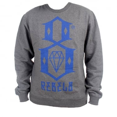R8 Logo Crewneck Sweatshirt - Gunmetal Heather