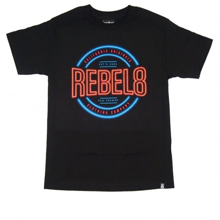 Rebel 8 R8 Neon T-shirt - Black