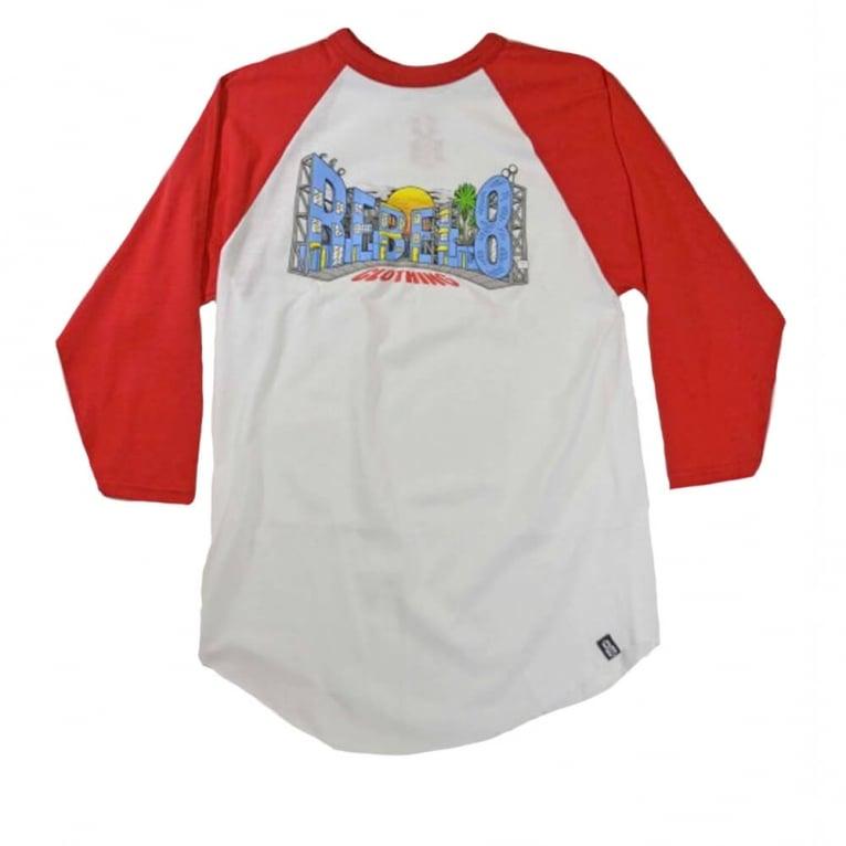 Rebel 8 Backlot Raglan T-shirt - White/Red