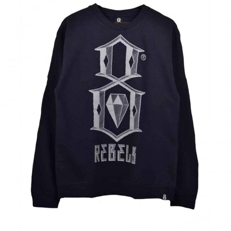 Rebel 8 Bevel Logo Crewneck Sweatshirt - Navy