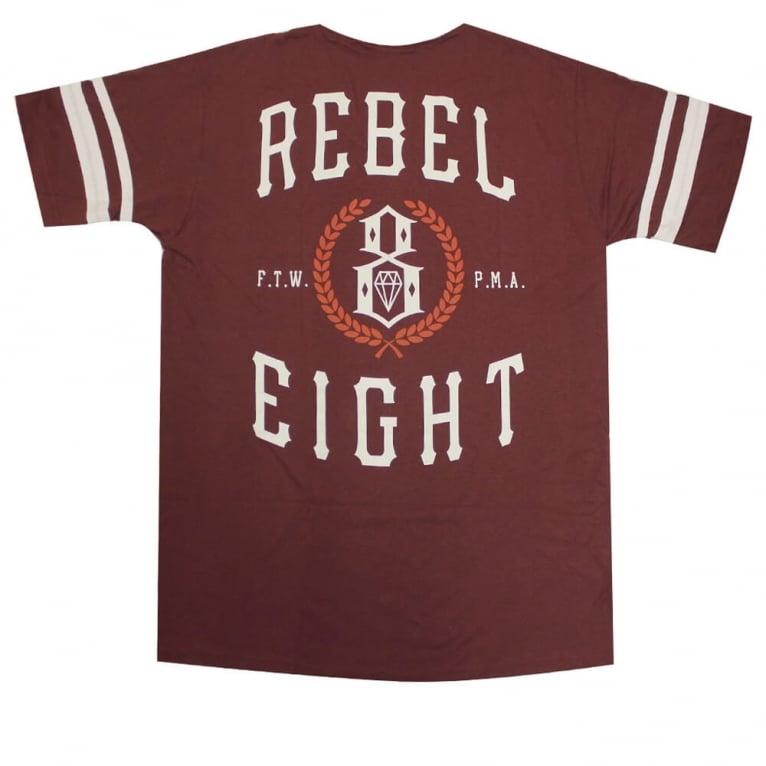 Rebel 8 Laurels Jersey T-shirt - Burgundy/White