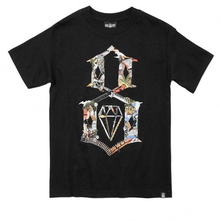 Rebel 8 Logo Kollage T-shirt - Black