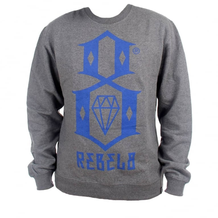 Rebel 8 R8 Logo Crewneck Sweatshirt - Gunmetal Heather