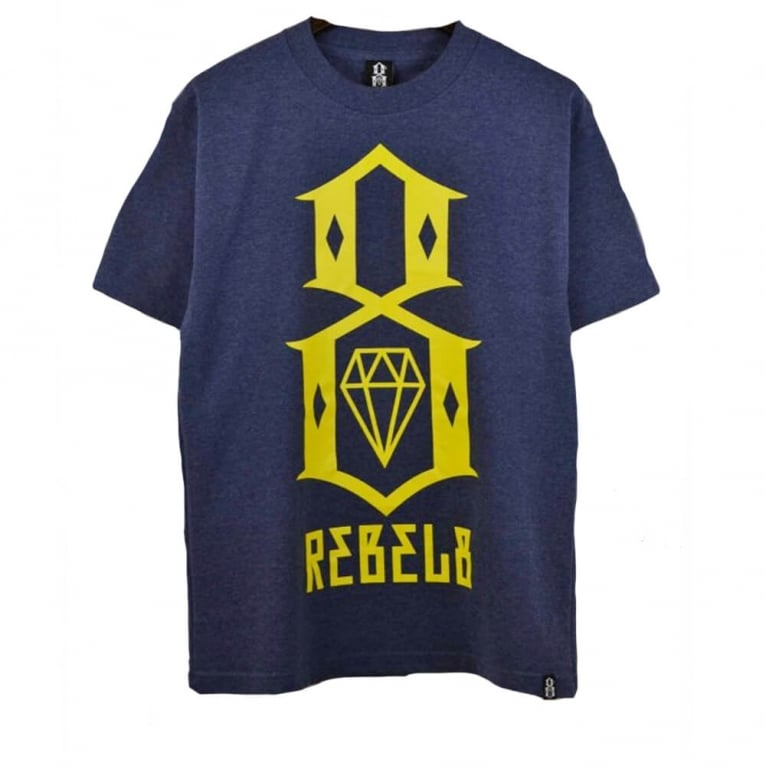 Rebel 8 R8 Logo T-shirt - Denim Heather