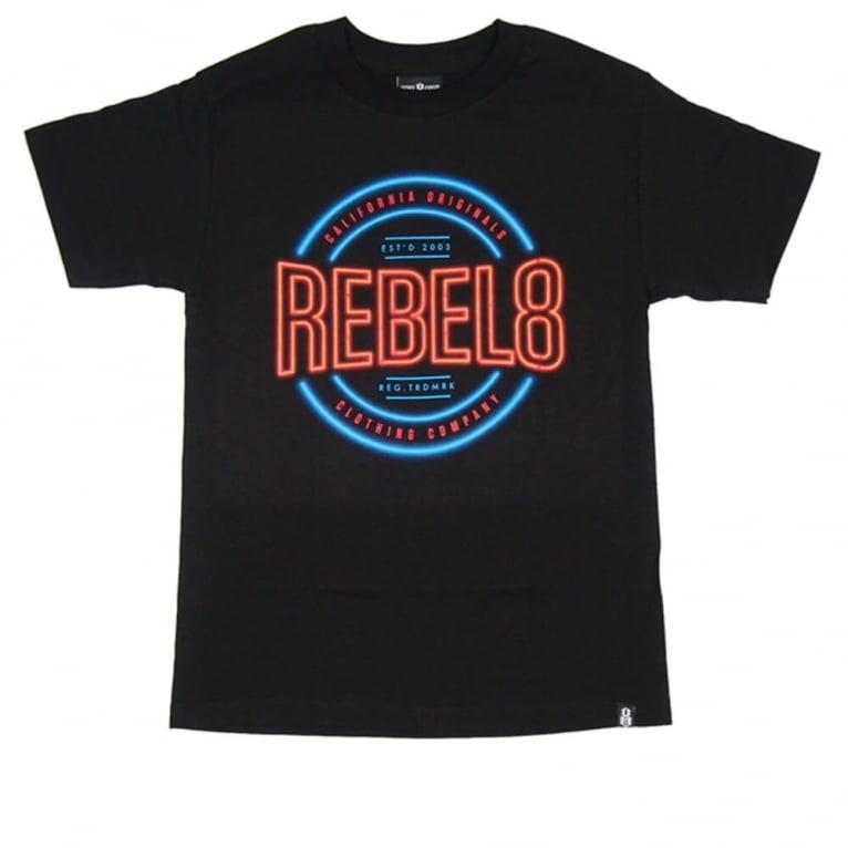 Rebel 8 R8 Neon T-shirt - Black