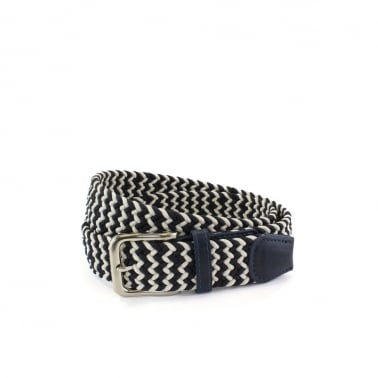 Weave Web Belt - Navy/White