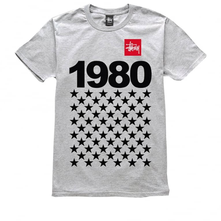 Stussy 1980 Stars T-shirt - Grey Heather