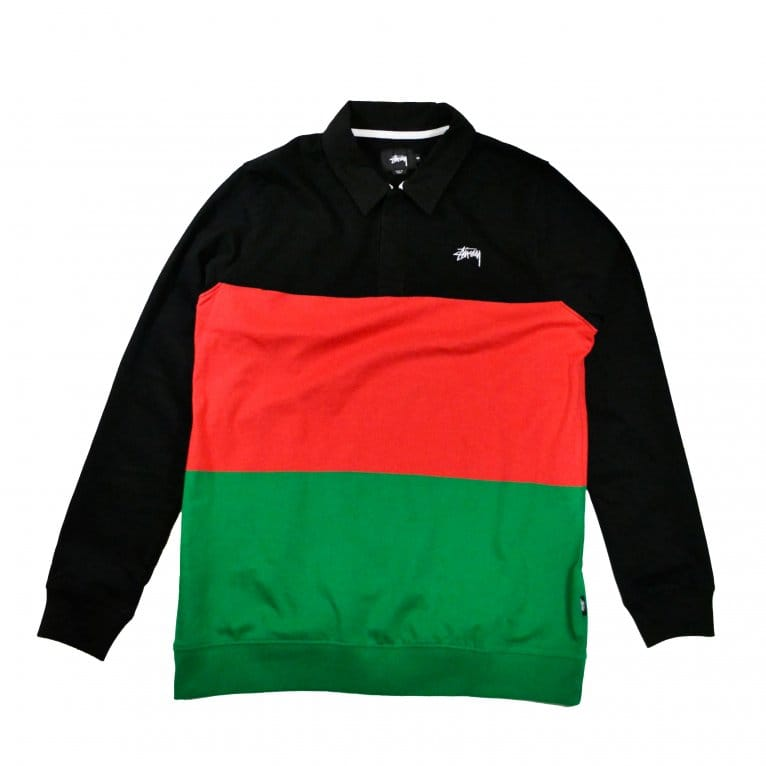Stussy 3 Tone Long Sleeve Rugby Polo - Black/Red/Green