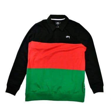 3 Tone Long Sleeve Rugby Polo - Black/Red/Green