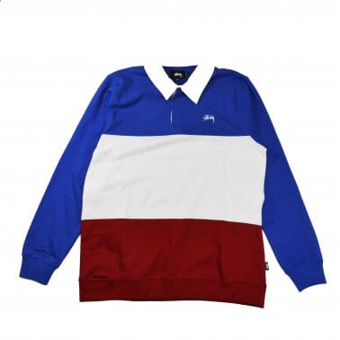 3 Tone Long Sleeve Rugby Polo - Navy/White/Red