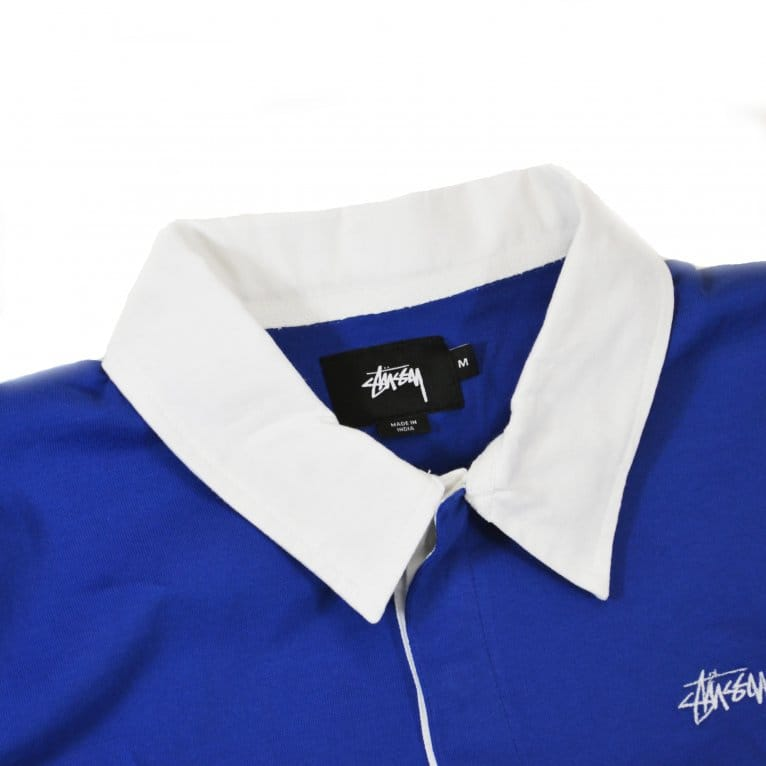 Stussy 3 Tone Long Sleeve Rugby Polo - Navy/White/Red