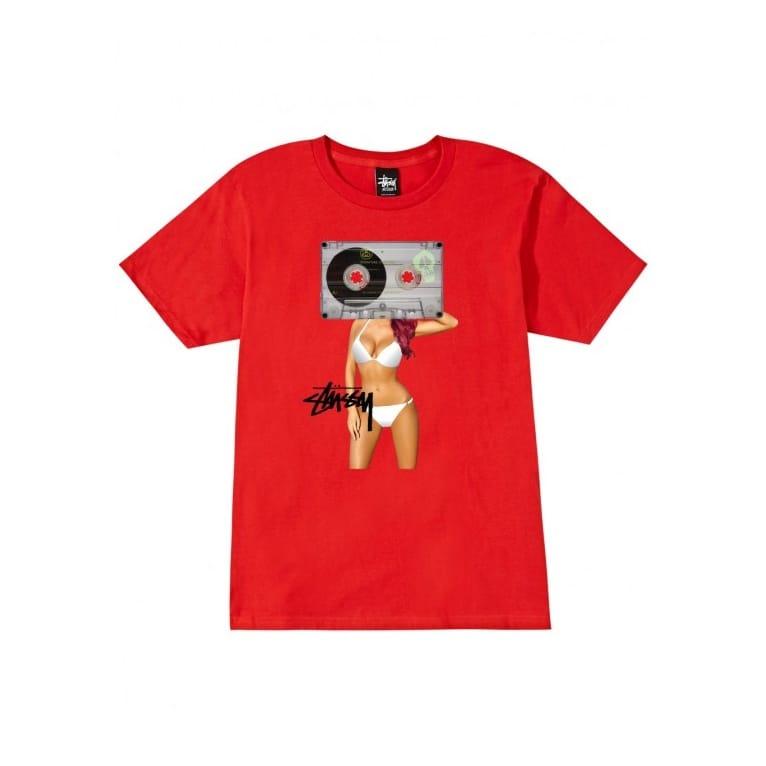 Stussy Cassette Girl Tee Red