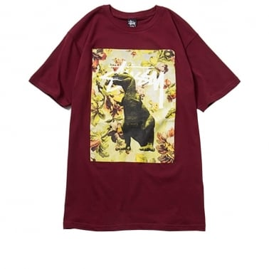 Flower Dino T-shirt - Wine