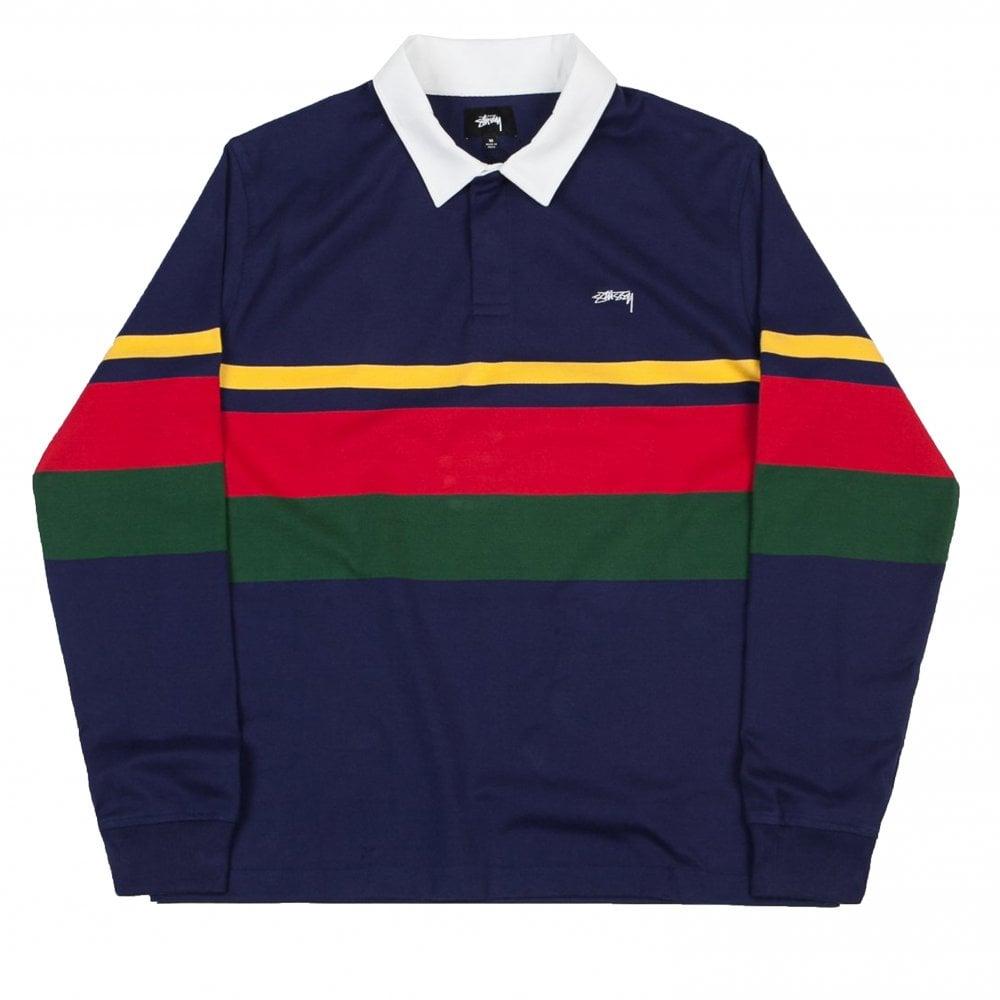 5ac00f0ef66 Stussy Lucas Stripe Long Sleeve Rugby Shirt - Navy