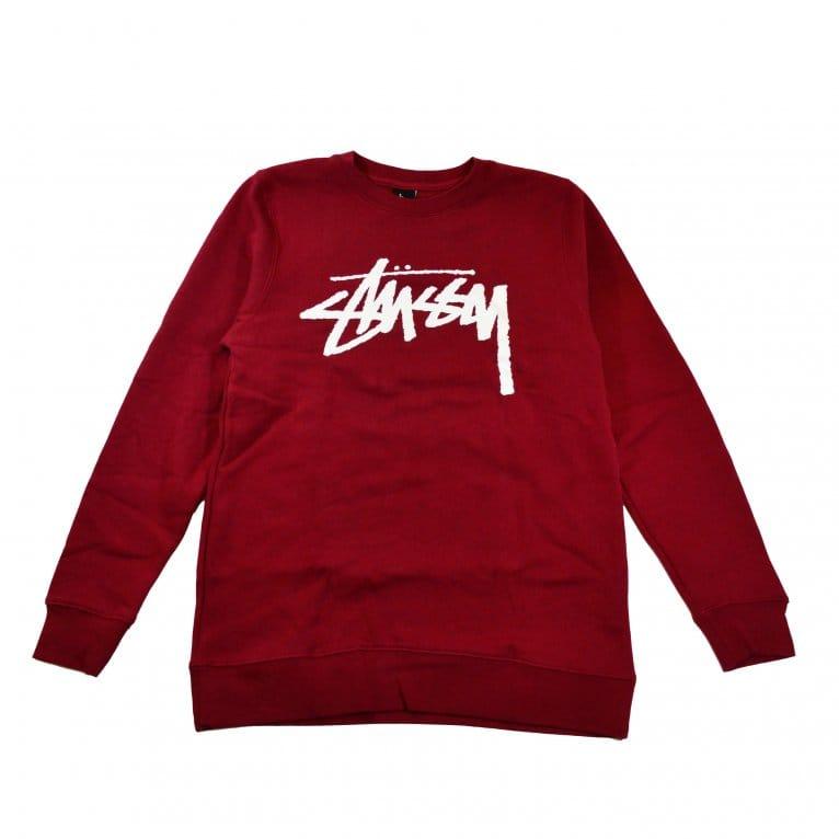 Stussy Stock Crew Sweatshirt - Dark Red