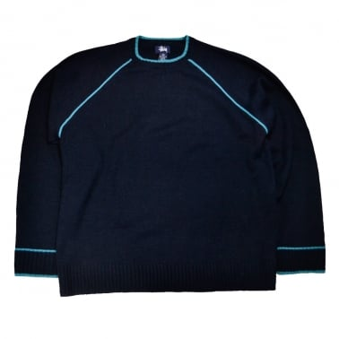 Taped Raglan Crewneck Sweatshirt - Navy