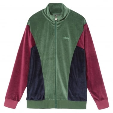 Velour Panelled Track Jacket - Green