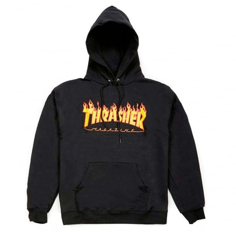 Thrasher Flame Logo Hoodie - Black