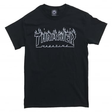 Flame Outline T-Shirt - Black