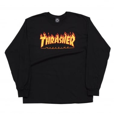 Long Sleeve Flame Logo - Black