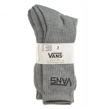 3 Pack of Crew Socks - Heather Grey