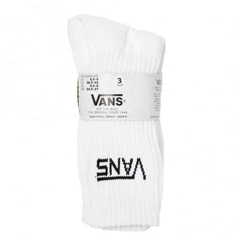 Vans 3 Pack of Crew Socks - White
