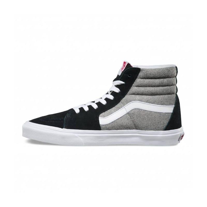 d1378645cbb Black Grey Vans Sk8-Hi Wool