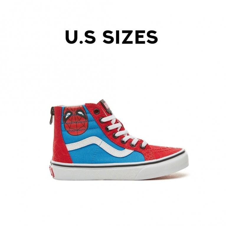 Vans x Marvel Sk8 Hi Zip Kids Spider Man