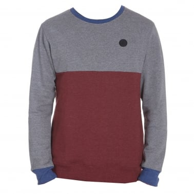 Colourblock Crewneck Swetshirt - Dark Grey/Red